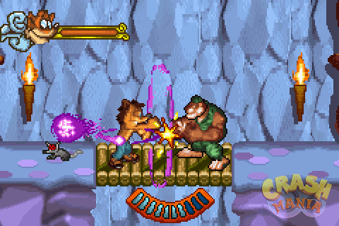 Crash and Tiny engage in fisticuffs.