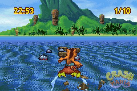 Crash uses Aku Aku as a surfboard to approach an island.