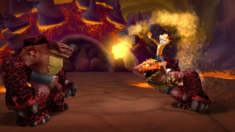 Crash hangs on to a magma-like turtle and commands it to attack another one of the same species.