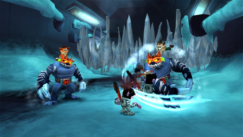 Crash rides on top of an giant, icy rat, while a white-colored copy of him uses a second rat to attack some nearby monkey enemies.