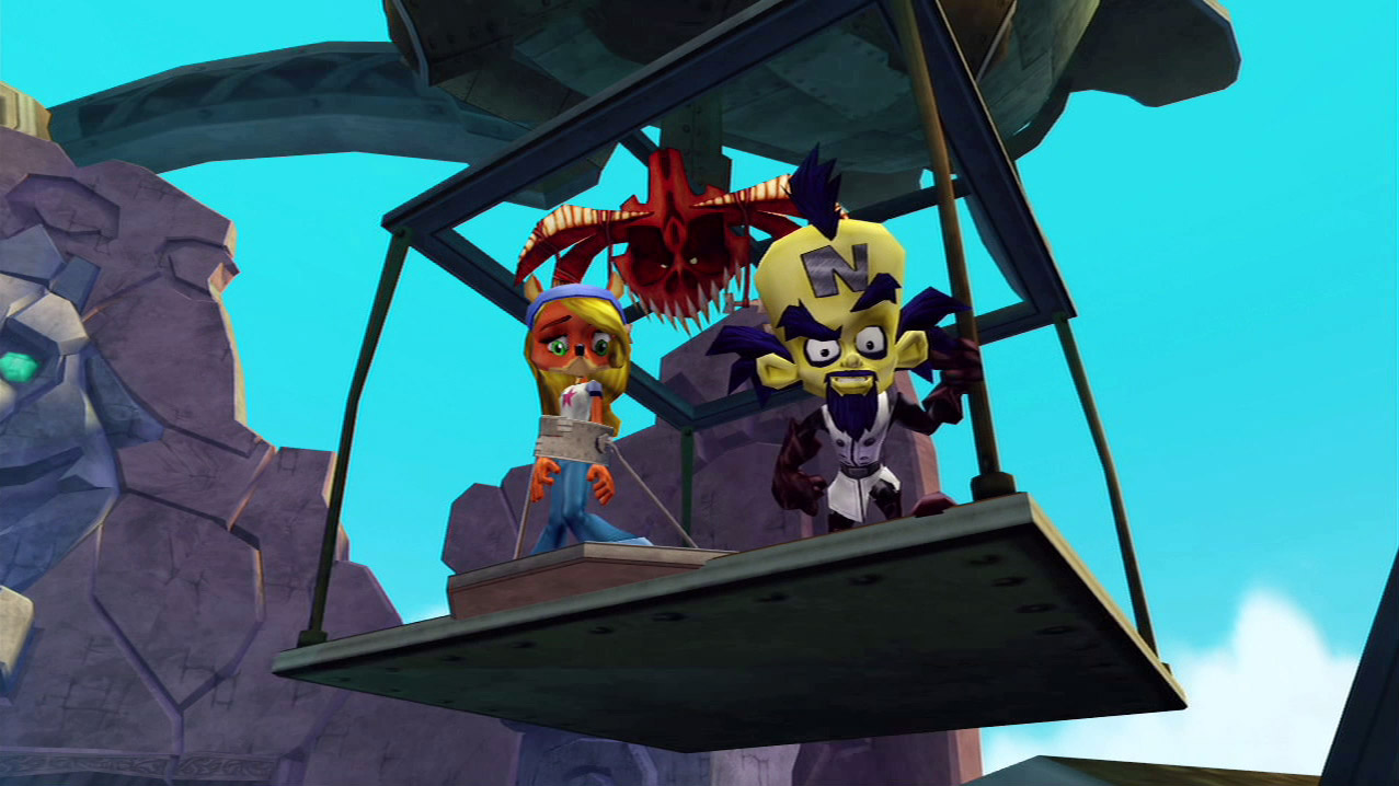 Cortex looks tauntingly at Crash from a suspended platform, while Coco stands cuffed next to him and Uka Uka watches the scene from above.