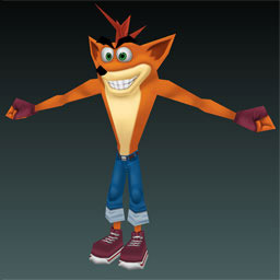 Crash as he would have appeared in the Nintendo DS version of Crash Tag Team Racing.