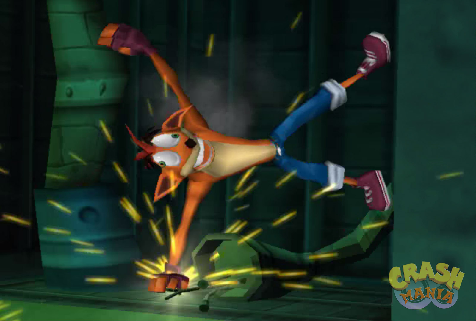 Crash touches an electric cable and gets shocked.