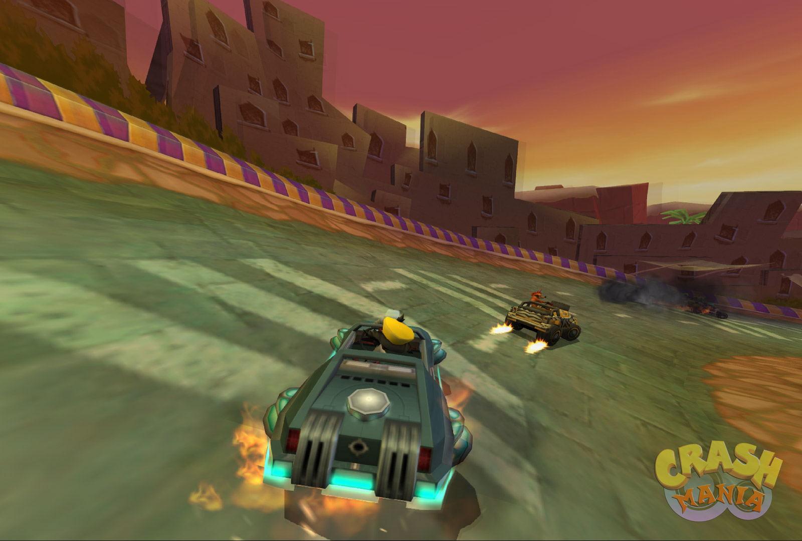 Cortex drives a floating futuristic car in an Egyptian-themed race track.