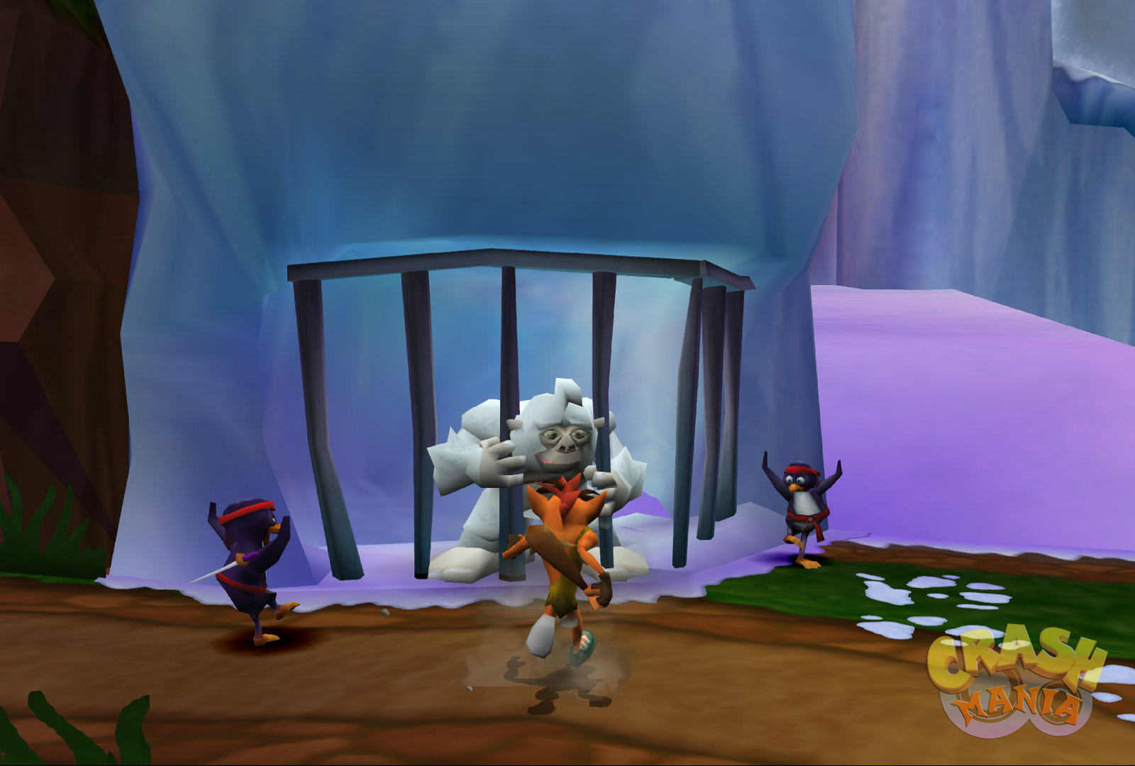 Crash runs up to a yeti who is being held prisioner in a cage. There are two penguins dressed as ninjas beside Crash.