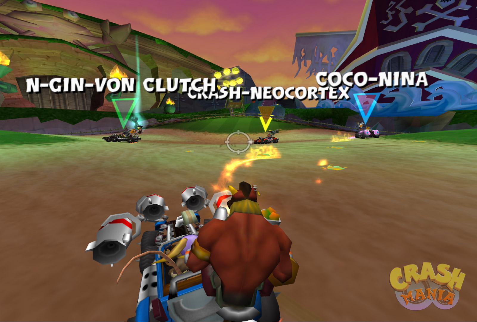 A battle arena where all 8 characters are divided in 4 cars and shooting at each other.