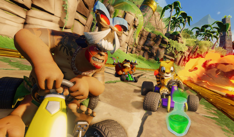In a Mayan-pyramid-type setting, Papu Papu drives his kart fiercely, while Pura looks concerned as he's about to run over a bubbling beaker with green liquid.