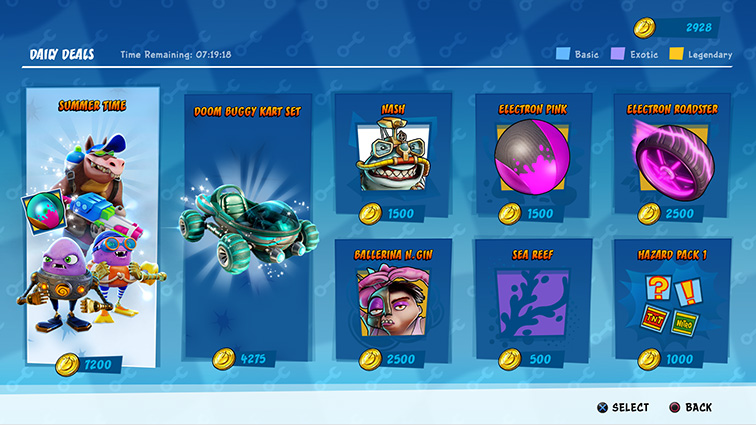 A menu showing various characters and items to purchase.