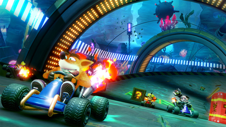 Crash and the others race in tube-shaped environment located underwater.