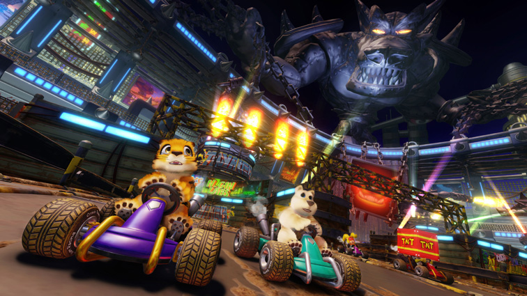 A futuristic coliseum with a gargantuan metallic statue of Tiny Tiger, posed as if it's holding the place together with large chains. Pura and Polar are seen driving on the track inside.