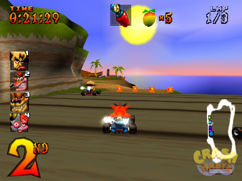 Crash Bandicoot and Neo Cortex drive small karts on top of a wooden bridge in a sunny cove.