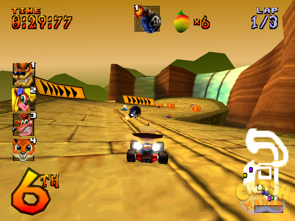 Neo Cortex fires a rolling bomb from his kart at other racers in a Mayan-esque track.