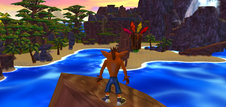 Crash stands on top of a jagged rock with Aku Aku floating nearby. The ocean separates them from N. Sanity Beach, seen in the distance.