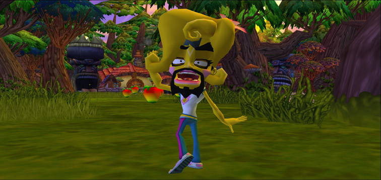 While disguised as Coco, Cortex waves and smiles at the viewer.