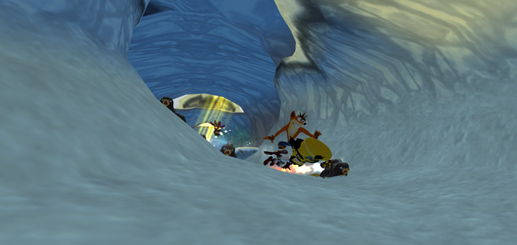 Crash uses Cortex as a snowboard to flee from a group of penguins attached to rockets, who are chasing them down a snowy mountain.