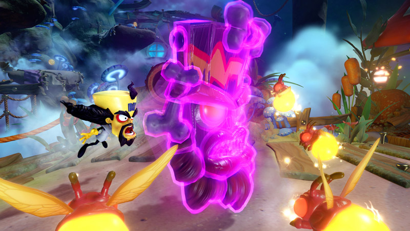 Cortex launches Uka Uka forward to attack some giant fireflies.