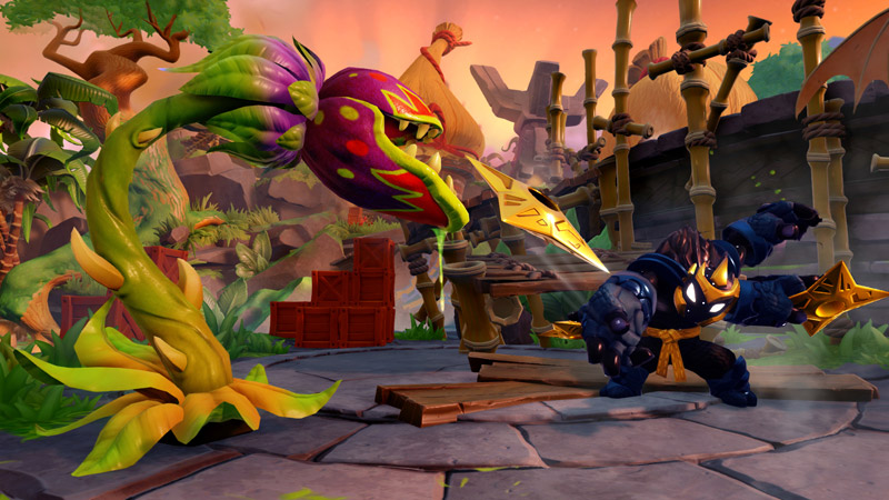 A dark warrior with golden ornaments and a belt throws shurikens at a man-eating plant.