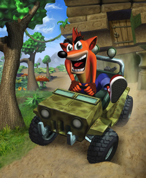 Crash drives a jeep in the jungle.